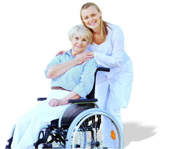 Nurse holding a hand of senior woman outside the house
