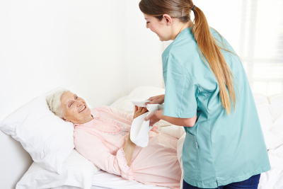 Nurse and senior woman