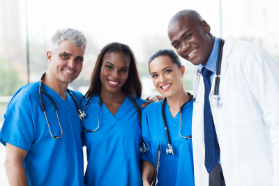 Group of happy medical team